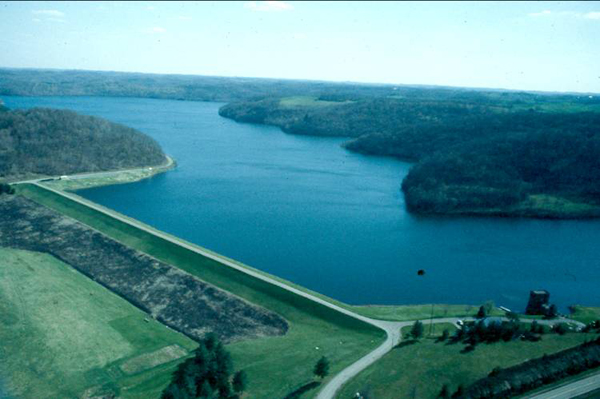 The dam at Piedmont Lake, one of the district's flood control projects (Credit: Muskingum Watershed Conservancy District)