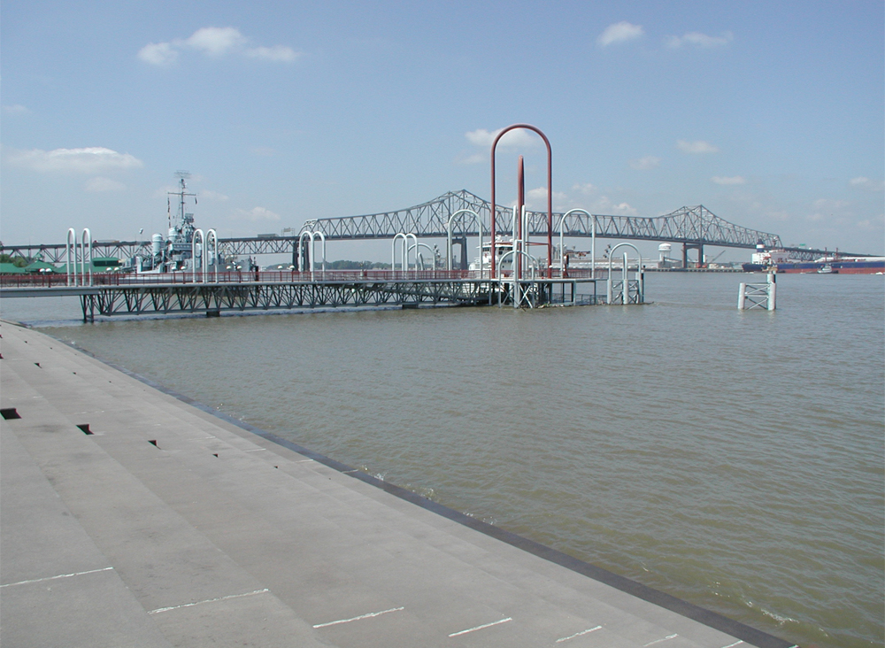 The public dock on the Mississippi River at Baton Rouge that houses the USGS water quality station (Credit: USGS)