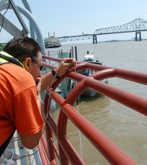 USGS crews at the Baton Rouge Mississippi River gauging station (Credit: USGS)