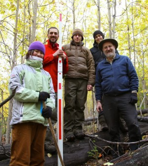 SNRAS crew at Reserve West after the measurement of the last tree. (Credit: UAF School of Natural Resources and Agricultural Sciences)