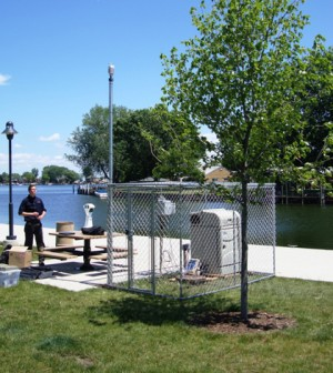 Sampling station at the Lake St. Clair Metropark (Credit: Shawn McElmurry)