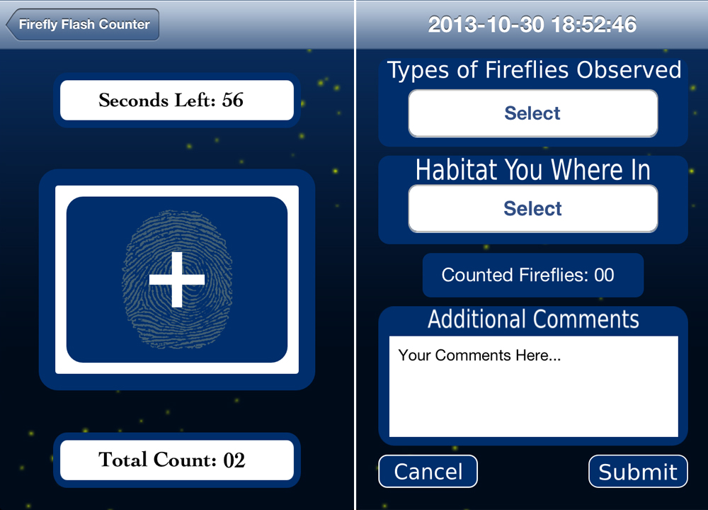 Screenshots from the Firefly Flash Counter, showing the counting and data submission screens (Credit: Clemson University)