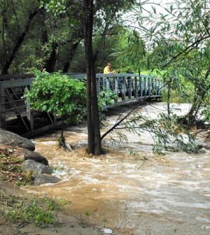 Boulder Creek floods on Sept. 13 (Credit: Nate Rock)