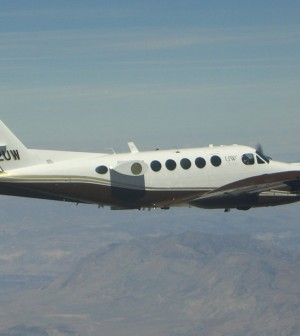 The University of Wyoming's Beech King Air research plane collects air samples, performs chemical analyses and takes radar profiles of snow storms. (Credit: Vanda Grubisic/Desert Research Institute)