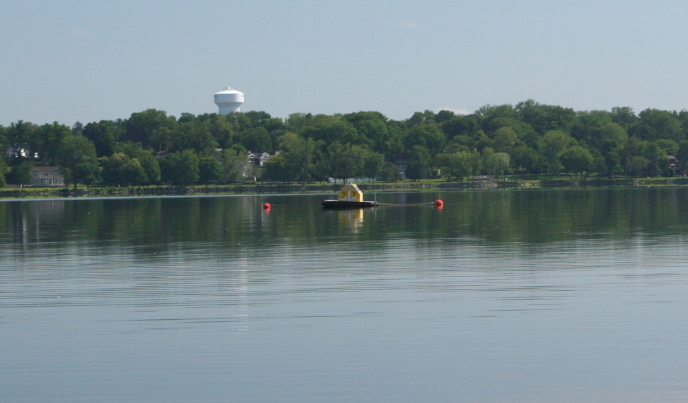 In addition to boat surveys, a buoy automatically measured vertical distribution of dye concentration in Onondaga Lake, near the mouth of Onondaga Creek (Credit: Upstate Freshwater Institute)
