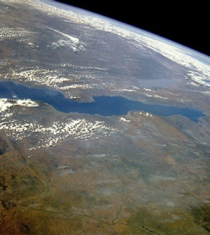Lake Tanganyika, captured here in a satellite photo, is the second largest freshwater lake in the world (Credit: NASA)