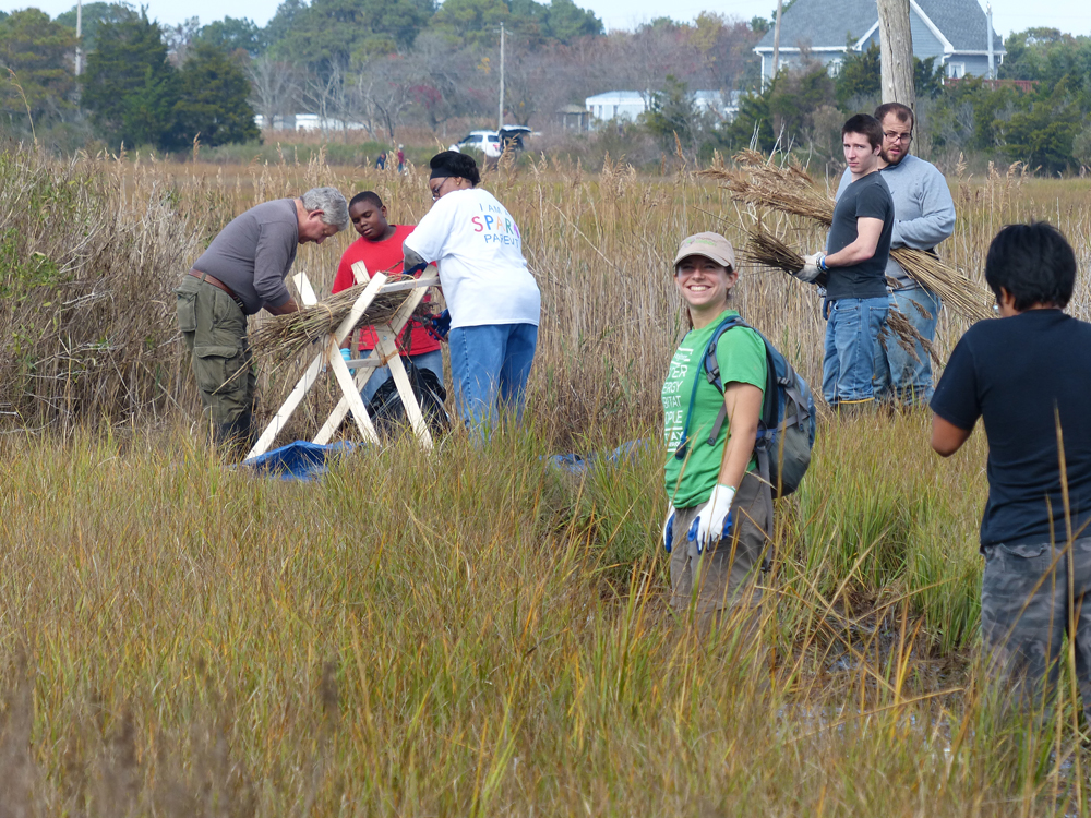 University students with SPARK participants and project coordinator Anne Armstrong (Credit: Chincoteague Bay Field Station)
