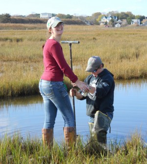 Shippensburg University students installed monitoring wells at the Chincoteague Bay Field Station (Credit: Chincoteague Bay Field Station)