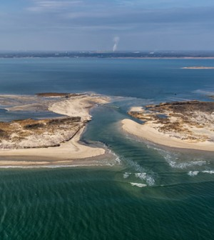 A breach in Fire Island brought on by Hurricane Sandy (Credit: USGS)
