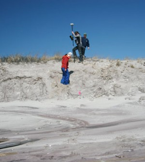 University of Rhode Island researchers conducting beach and dune surveys at Fire Island National Seashore (Credit: USGS)