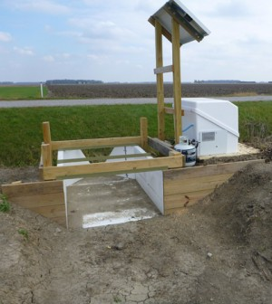 A USDA edge-of-field monitoring station in the Sandusky Watershed (Credit: Kevin King)