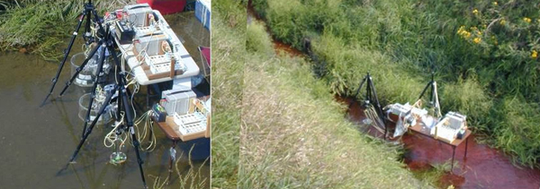 The Sugar Creek, Ind., study site and USGS sampling equipment. (Credit: Jud Harvey)
