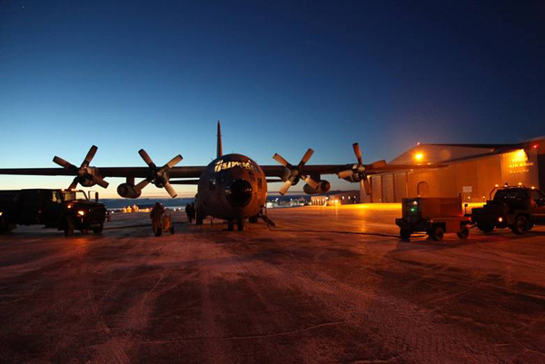 The C130 parked outside the hanger at Thule Air Base in Greenland (Credit: The LVIS team)