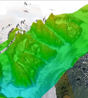 LVIS elevation and slope data over the Qajuuttap Glacier in Southern Greenland from a 2012 mission (Credit: NASA Goddard Space Flight Center)