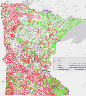 Map of Minnesota streams; altered channels in red (Credit: MPCA and MNGeo)