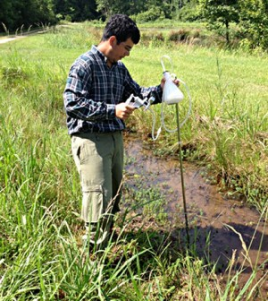Princeton sophomore David Hoyos collects environmental samples during an eight-week-long research project to study pollution of the Mississippi River Delta (Credit: Devika Balachandran)