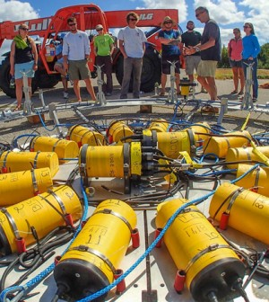 This custom-built ring of current meters measures rapid mixing in the surf zone (Credit: WHOI)