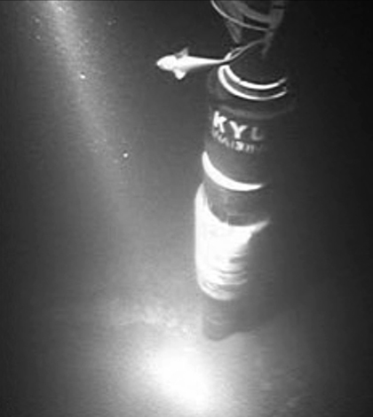 An underwater photo of the rig from the Japanese Trench Fast Drilling Project (Credit: JAMSTEC)