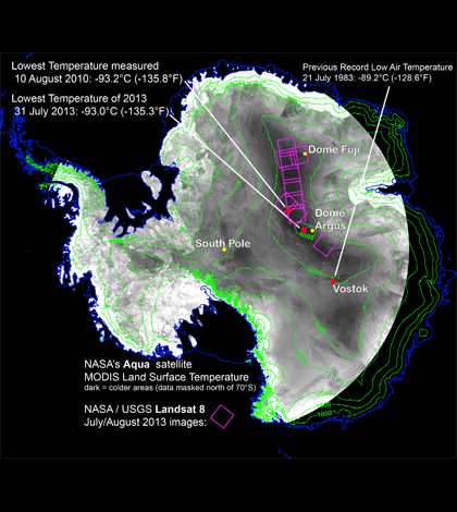 Coldest temperatures on Earth are measured near the center of Antarctica (Credit: Ted Scambos, National Snow and Ice Data Center)