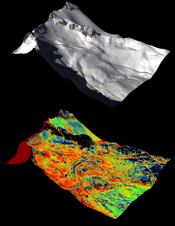 (Top) A natural color image of Mt. Lyell in the Tuolumne River Basin. (Bottom) A color composite image of snow depth on Mt. Lyell from NASA's Airborne Snow Observatory (Credit: NASA JPL/Caltech)