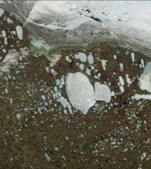 Ice-covered Lake Teshekpuk on Alaska's Arctic Coastal Plain as seen from NASA's Terra satellite on June 6, 2012 (Credit: NASA)