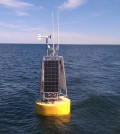 The NOAA data buoy in Lake Erie's off shore waters north of Cleveland (Credit: NOAA Great Lakes Environmental Research Laboratory)