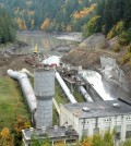 Oct. 11, 2011 photo shows a nearly drained reservoir behind Elwha Dam (Credit: Olympic National Park/U.S. National Park Service)