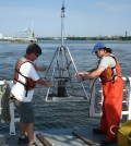 Technicians collecting riverbed sediment samples in the Delaware Estuary. (Credit: University of Delaware)