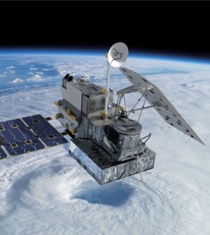 Artist concept of the Global Precipitation Measurement Core Observatory satellite. (Credit: NASA's Goddard Space Flight Center)