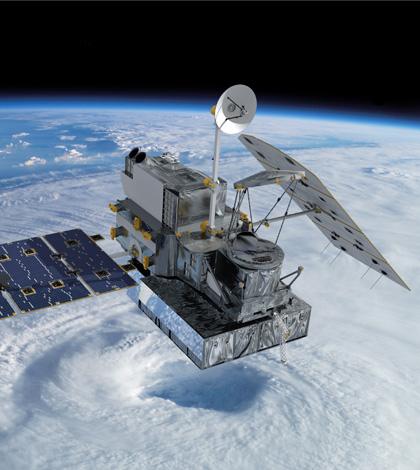 Artist concept of the Global Precipitation Measurement Core Observatory satellite. (Credit: NASA's Goddard Space Flight Center)