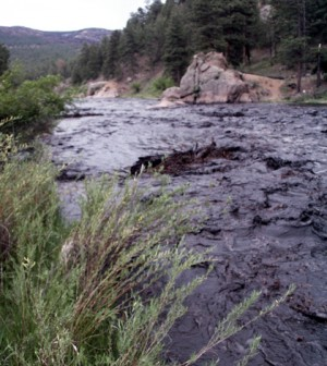 The South Platte River runs black with ash and sediment from runoff from the Hayman fire burn scar 2003 (Credit: Michael Stevens/USGS)