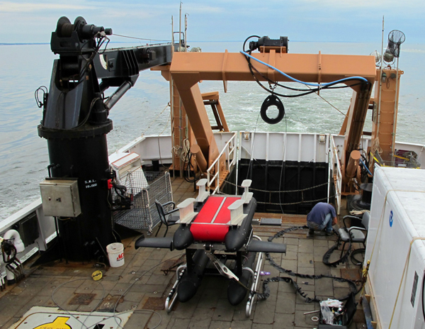 The In Situ Ichthyoplankton Imaging System, or ISIIS, on deck (Credit: University of Miami)