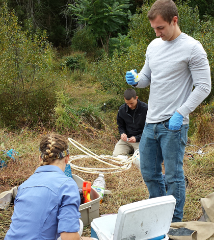Students collect water samples at Lake Perez (Credit: Penn State University)
