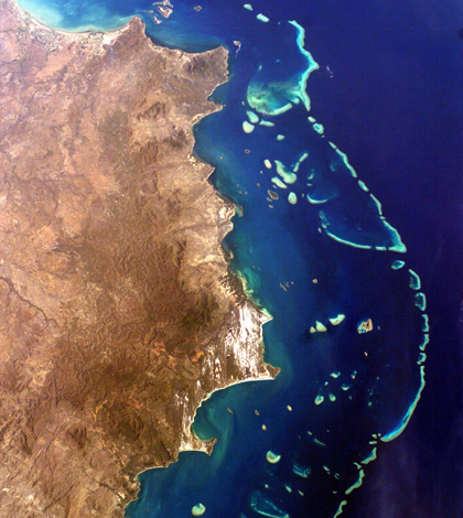 Far northern section of the Great Barrier Reef (Credit: NASA)