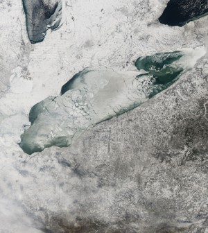 Frozen Lake Erie on Jan. 9, 2014 (Credit: NASA Earth Observatory)