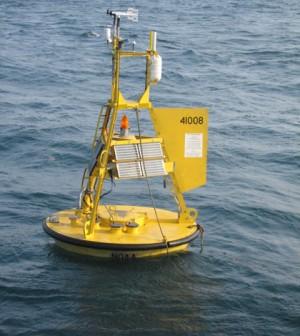 A National Data Buoy Center weather buoy near Grays Reef, Georgia (Credit: NOAA)