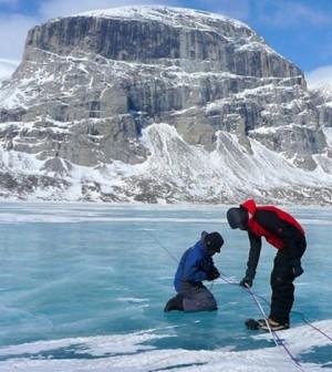 University at Buffalo professor Jason Briner conducts field studies at Canada's Baffin Island (Credit: Jason Briner)