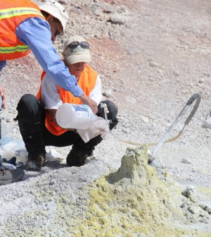 Sampling hot steam and gas (Credit: USGS)
