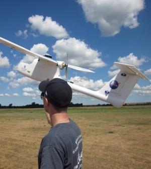 Alexander Ebenstein prepares the UAV for launch (Credit: John Koches)