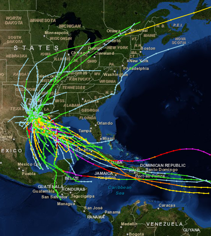 Historical hurricane tracks from a NASA tool available through the climate data website (Credit: NASA)