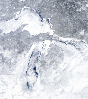 Great Lakes ice cover on Feb. 16 (Credit: NOAA Great Lakes CoastWatch)