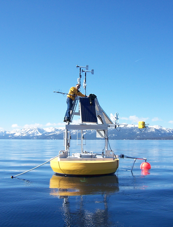 NASA and UC Davis also operate a research buoy on Lake Tahoe (Credit: Geoff Schladow)