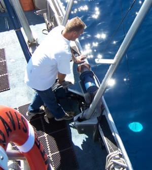 Tahoe Environmental Research Center boat captain Brant Allen conducting a Secchi depth measurement (Credit: Geoff Schladow)