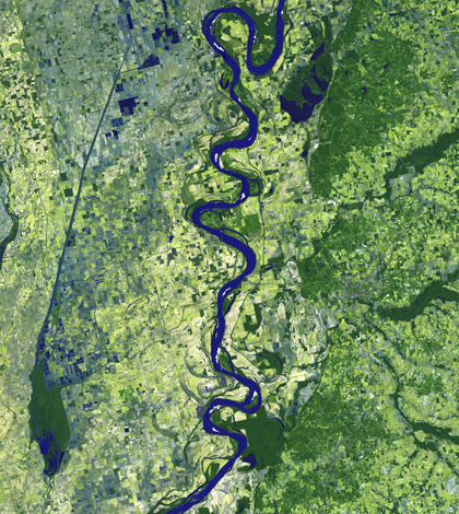 Satellite image of the Mississippi River from the Landsat program (Credit: NASA Goddard Space Flight Center)