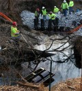 Crews address an oil spill in Oak Glen Nature Preserve (Credit: Ohio Environmental Protection Agency)