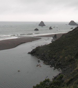 The Russian River where it flows into the Pacific Ocean (Credit: Wouter Kiel, via Flickr)