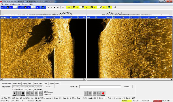 Side scan sonar images collected by the IVER 3 under the Straits of Mackinac during a trial run (Credit: Michigan Technological University/Great Lakes Research Center)