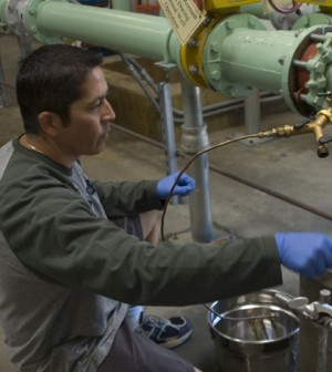 The USGS samples public supply wells for its Principal Aquifer Surveys (Credit: Cathy Munday, USGS)