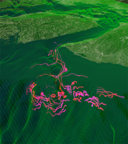 An image from a numerical simulation of the region, including Juan de Fuca Canyon. (Credit: Parker MacCready)