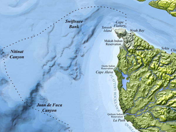 A map of the regiona, including Juan de Fuca Canyon (Credit: NOAA Olympic Coast National Marine Sanctuary)